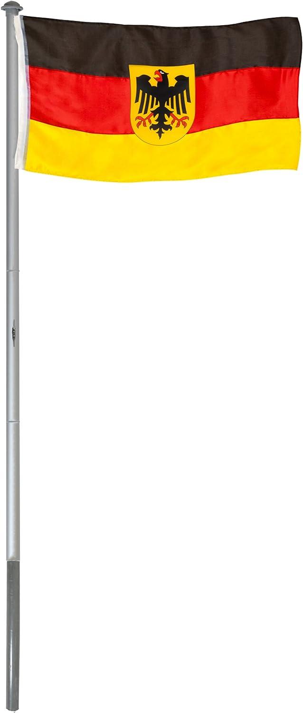 BRUBAKER Mástil Aluminio Exterior 6 m Incluye Bandera de Alemania ...