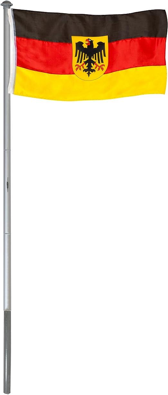 BRUBAKER Mástil Aluminio Exterior 6 m Incluye Bandera de Alemania con águila 150 x 90 cm y Soporte de Tierra: Amazon.es: Jardín