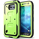 Galaxy S6 Active Case, [Heave Duty]Slim Protection i-Blason Armorbox [Dual Layer] Hybrid Full-body Protective Case with Front Cover and Built-in Screen Protector / Impact Resistant Bumpers Cover for Samsung Galaxy S6 Active 2015 ReleaseDoes Not Fit Regular Galaxy S6 (Green)