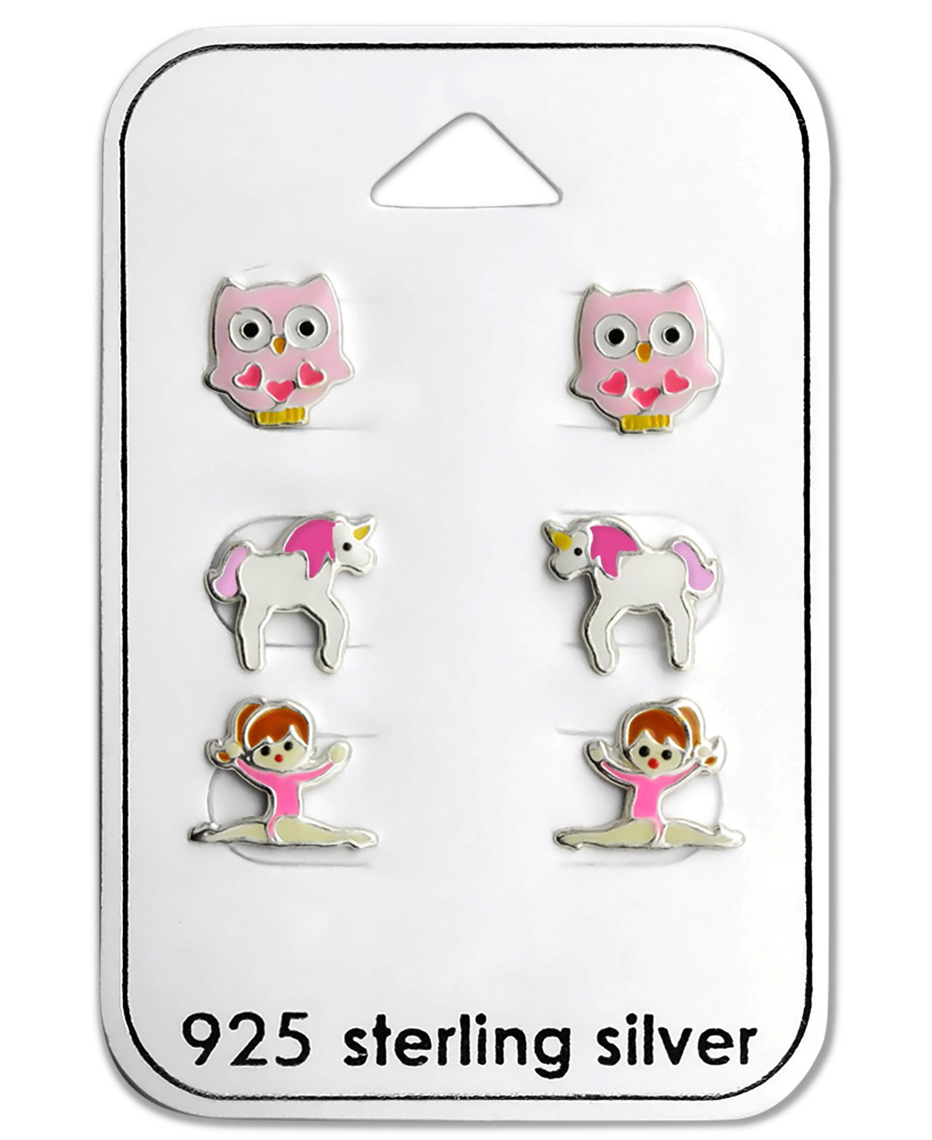 Best Wing Jewelry .925 Sterling Silver ''Pink Owl, Unicorn and Ballerina/Gymnastic Girl'' Set Children's Stud Earrings (3 Pairs) by Best Wing Children's Earrings (Image #2)