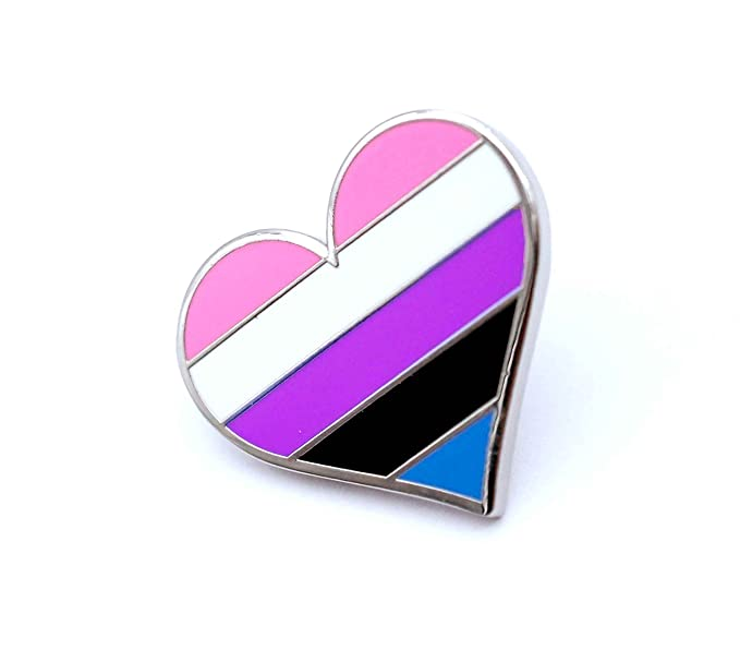 7ca72b22fab Image Unavailable. Image not available for. Color: Compoco Gender Fluid Pride  Pin Flag LGBTQ Gay Heart Flag Lapel Pin