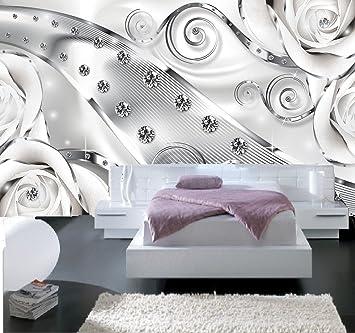Papier Peint 3d Trompe L\'oeil moderne blanc diamant 415cmX254cm ...