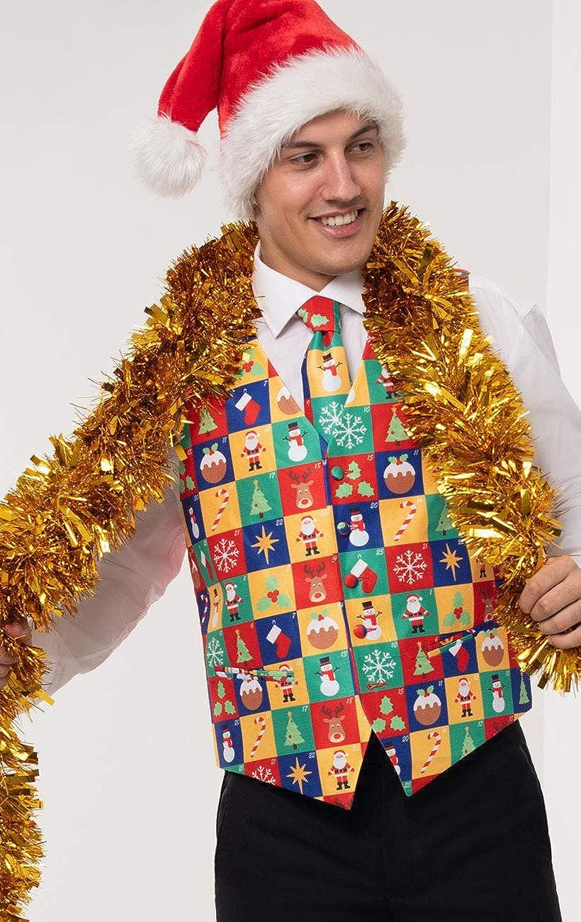 Dobell Mens Multicoloured Advent Calendar Christmas Waistcoat