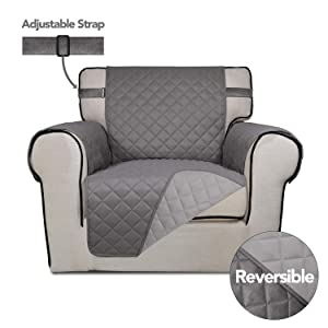 PureFit Reversible Quilted Sofa Cover, Spill, Water Resistant Slipcover Furniture Protector, Washable Couch Cover with Anti-Slip Foam and Adjustable Strap for Kids, Pets (Chair, Gray/Light Gray)