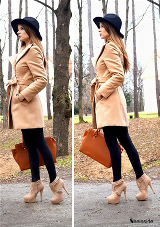 sheinside® Mujer Abrigo de mezcla de lanas con cinturón y solapa, kamelfarben Marrón camel: Amazon.es: Ropa y accesorios