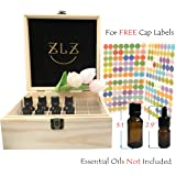 Essential Oil Wooden Box 36 Hold-Essential Oil Storage organizer-Aromatherapy Box-Holds 5ml/10ml/15ml/20ml Bottles-Free 192 Essential Oils Labels-Essential Oil Case-Keep Oils Storage Containers Safe