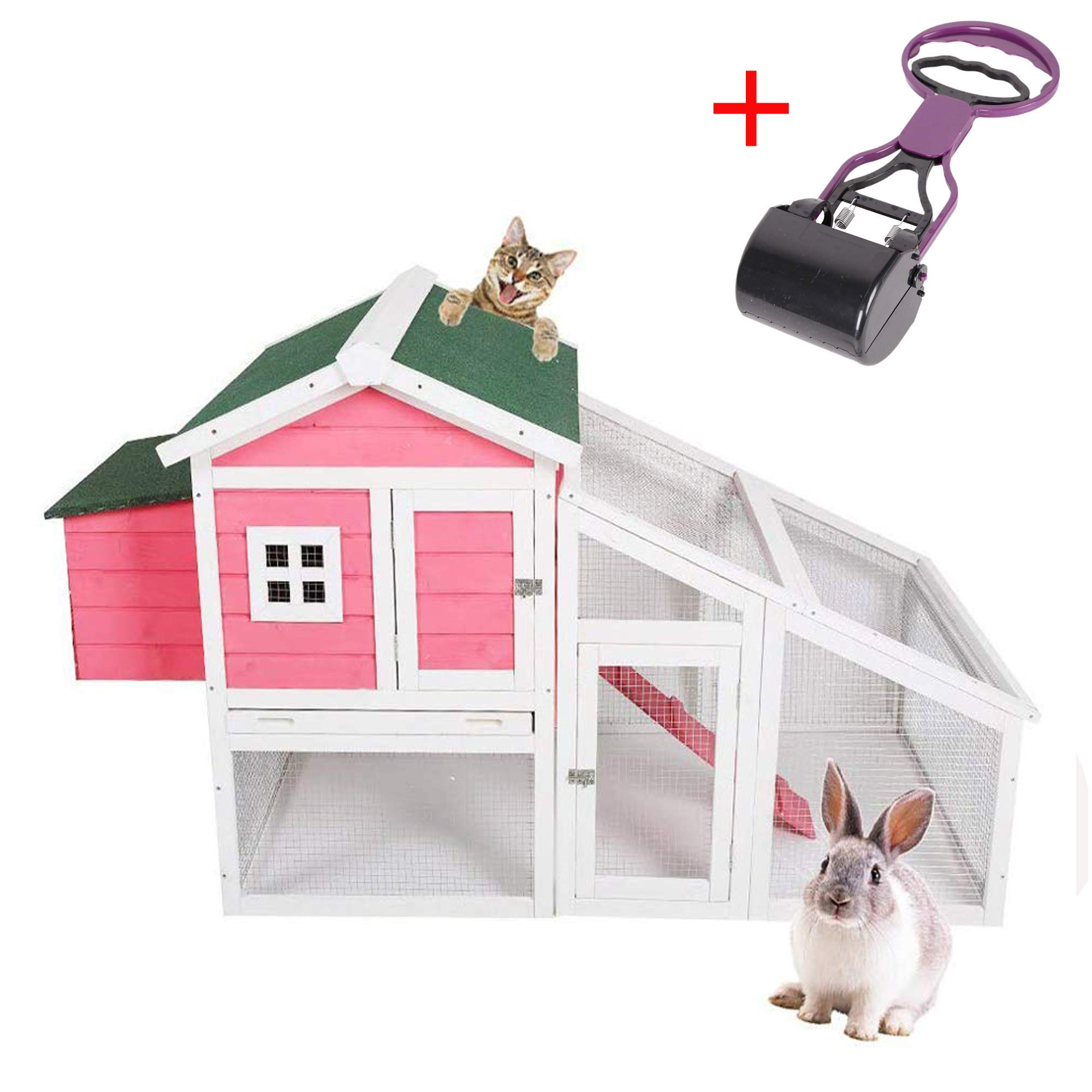 Livebest Pet Cage Rabbit Hutch Chicken Coop Cat House Large Space Indoor Outdoor Mesh Wire Wooden Small Animals Home Playpen for Bunny Kitty (Pink)