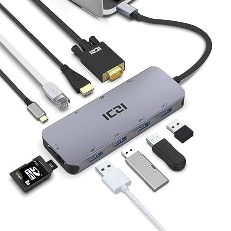 Amazon.com: USB C HUB, ICZI 10 en 1 USB Tipo C a HDMI VGA ...
