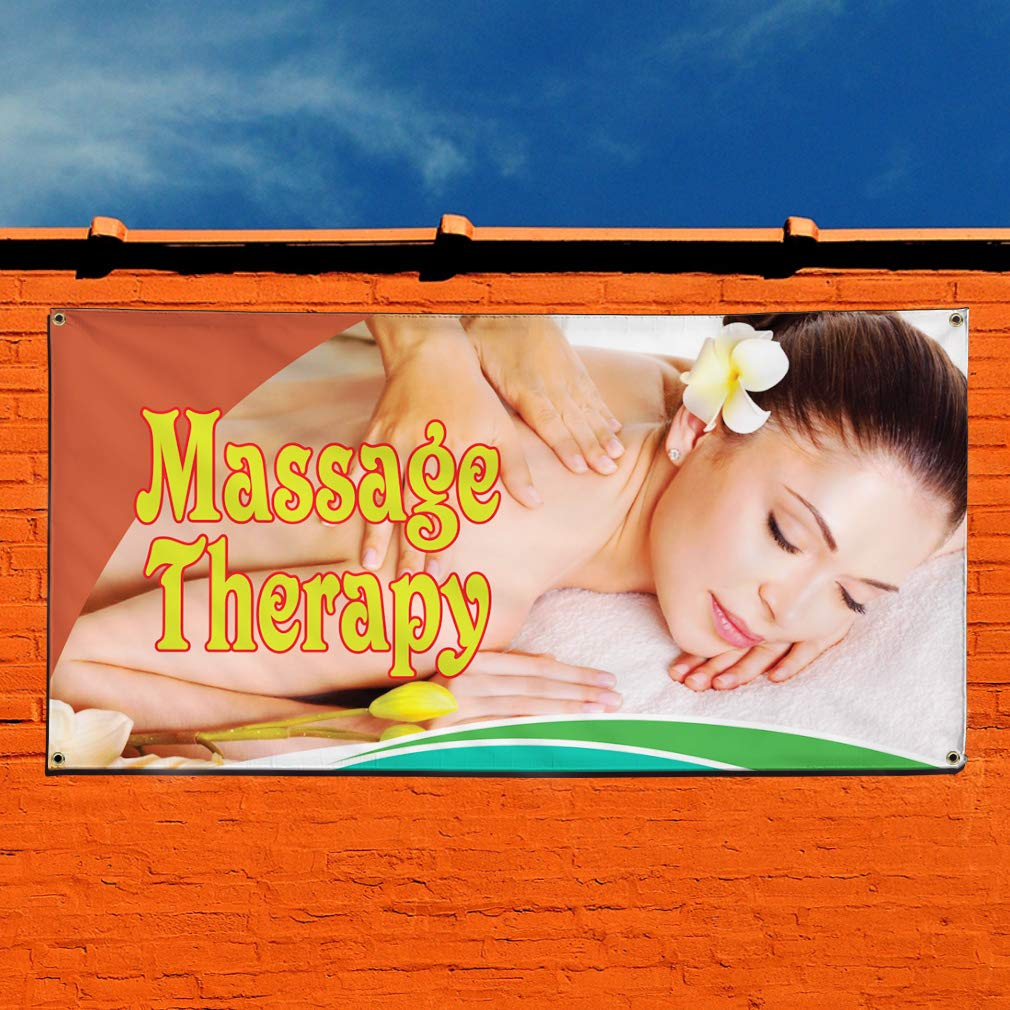 Multiple Sizes Available 44inx110in One Banner 8 Grommets Vinyl Banner Sign Massage Therapy #2 Business Rub Marketing Advertising Yellow
