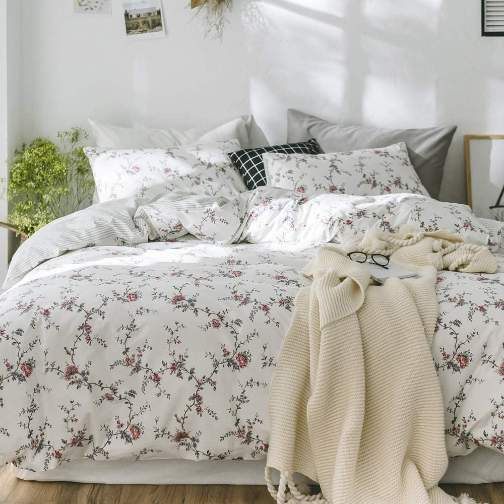 【Newest Arrival】Cotton Floral Duvet Cover Girls Womens Queen Duvet Cover Girls Bedding Set White Duvet Cover with Flora Print Reverisible Stripes Comforter Cover Queen Leaves Bedding Set,No Comforter 71GsDPpsFLL