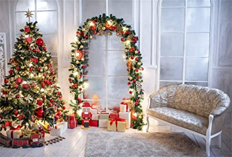 csfoto 10x7ft background classic christmas tree cosy home decor photography backdrop fir arch christmas decoration ball