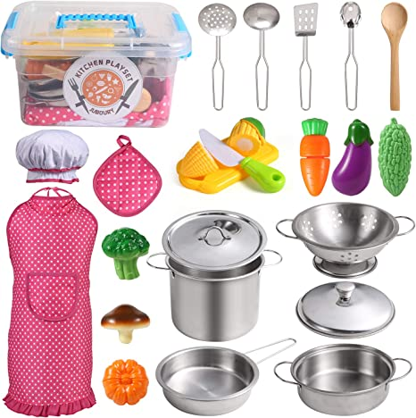 Juboury Kitchen Pretend Play Toys with Stainless Steel Cookware Pots and Pans Set, Cooking Utensils, Apron & Chef Hat, Cutting Vegetables for Kids, ...