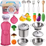 Juboury Kitchen Pretend Play Toys with Stainless Steel Cookware Pots and Pans Set, Cooking Utensils, Apron & Chef Hat…