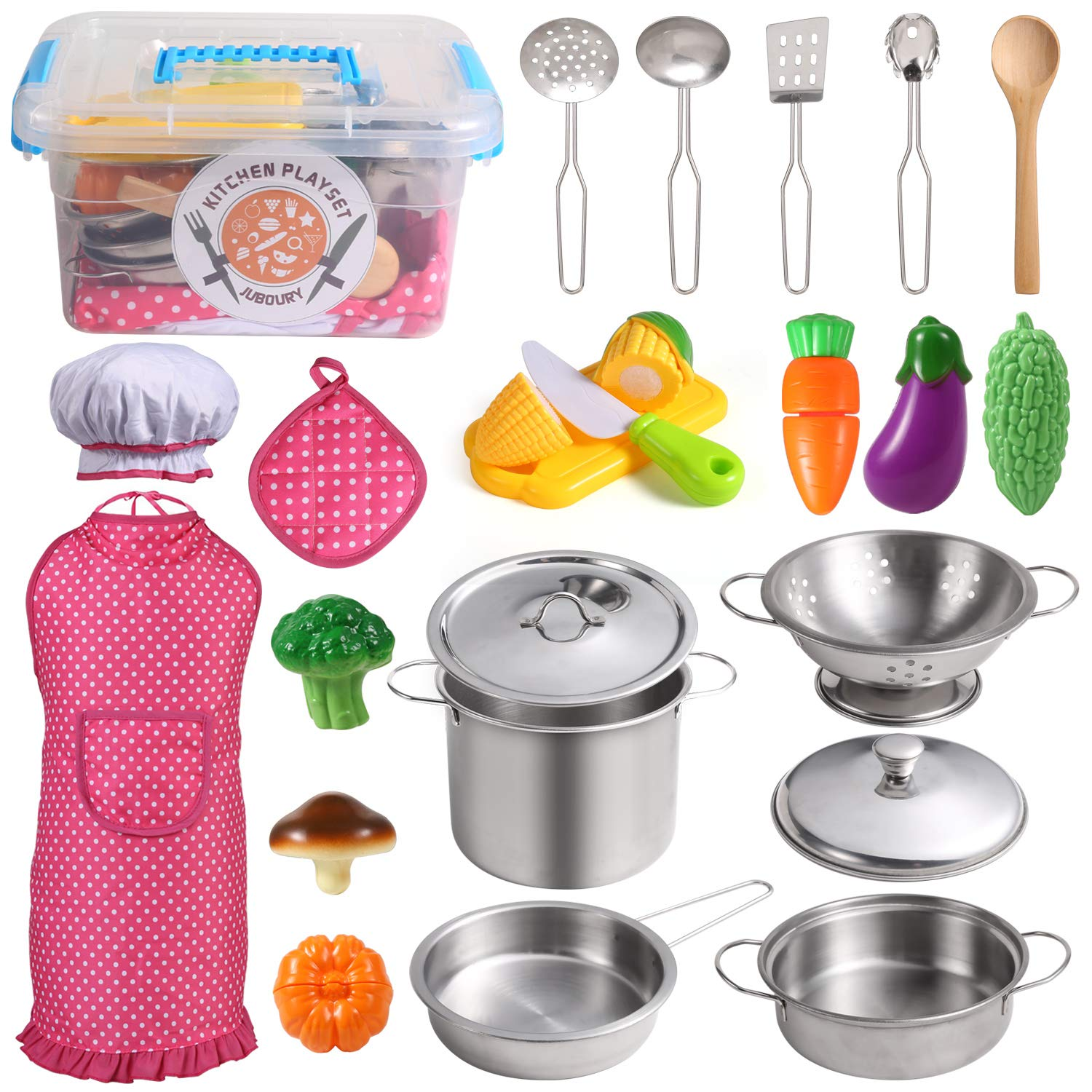 Juboury Kitchen Pretend Play Toys with Stainless Steel Cookware Pots and Pans Set, Cooking Utensils, Apron & Chef Hat, Cutting Vegetables for Kids, Girls, Boys, Toddlers by Juboury
