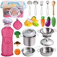 Juboury Kitchen Pretend Play Toys with Stainless Steel Cookware Pots and Pans Set...