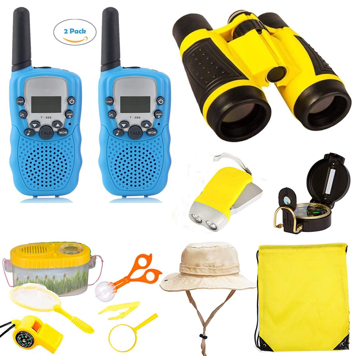 Woltechz Outdoor Toy Explorer Kit for Kids, 2packs Walkie Talkies with 3KM Long Rang 22 Channels 2 Way Radio/ Binoculars for Kids/Flashlight/ Compass and Adventure kit for Boys or Girls by Woltechz (Image #1)