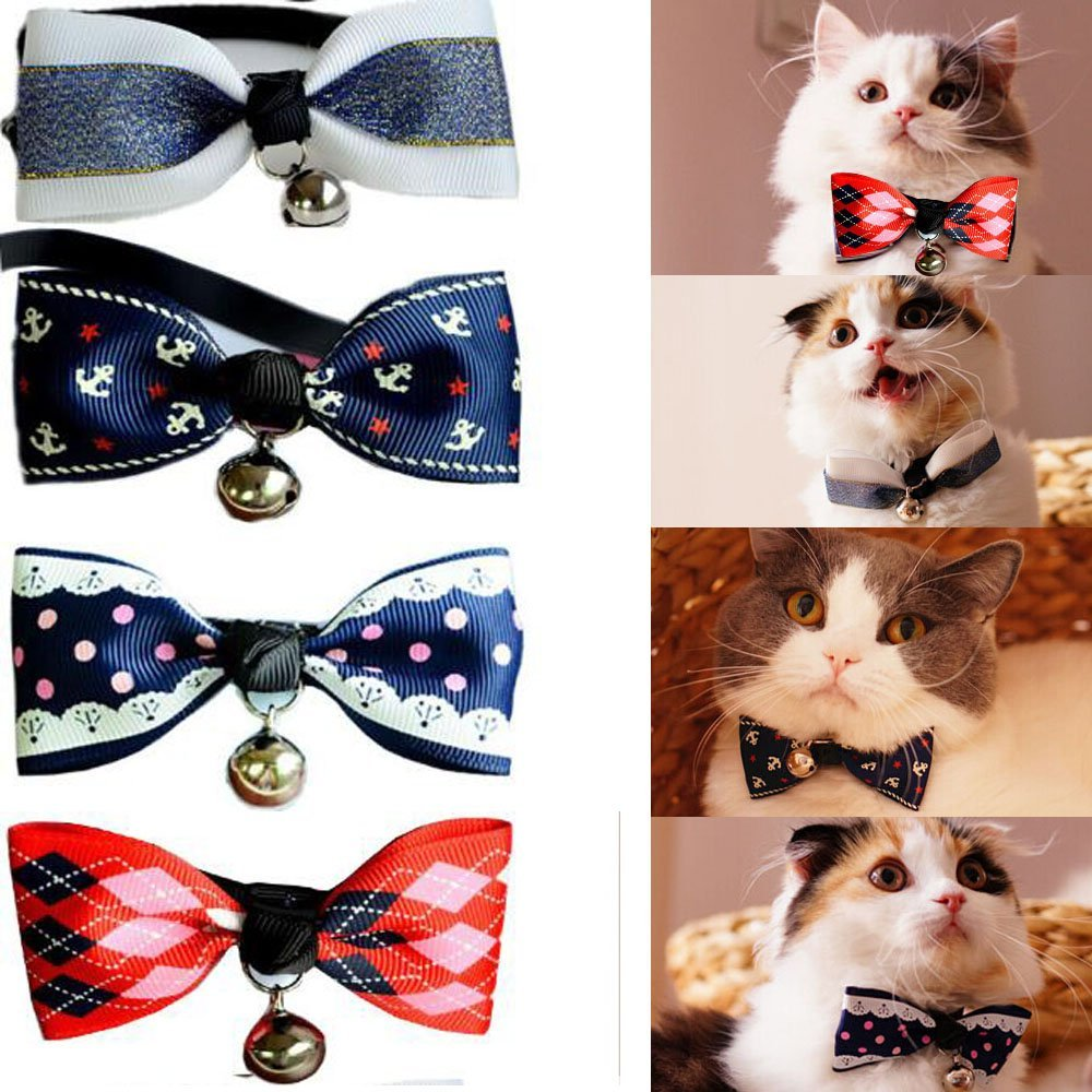 Bro'Bear Adjustable Cats Small Dogs Bow Tie Collar with Bell Set of 4 (C)