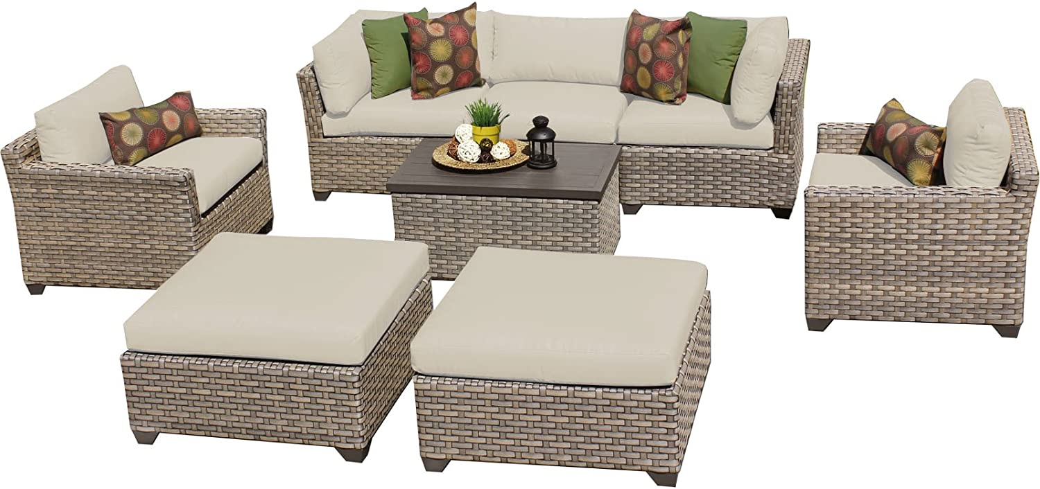 TK Classics Monterey 8 Piece Outdoor Wicker Patio Furniture Set 08a, Beige