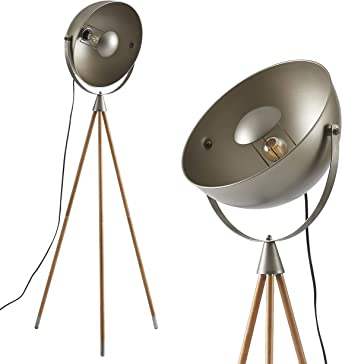 Ambiore Wood Tripod Floor Lamp With Bulb Kepler Industrial Elegant Indoor Light For Modern Living Room And Bedroom Solid Wood Walnut Stand With