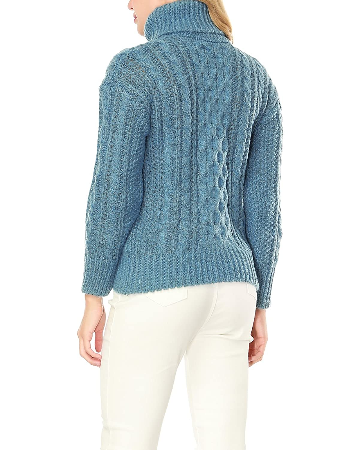 Sanifer Women Soft Baggy Cable Knit Turtleneck Sweater (Blue) at ...