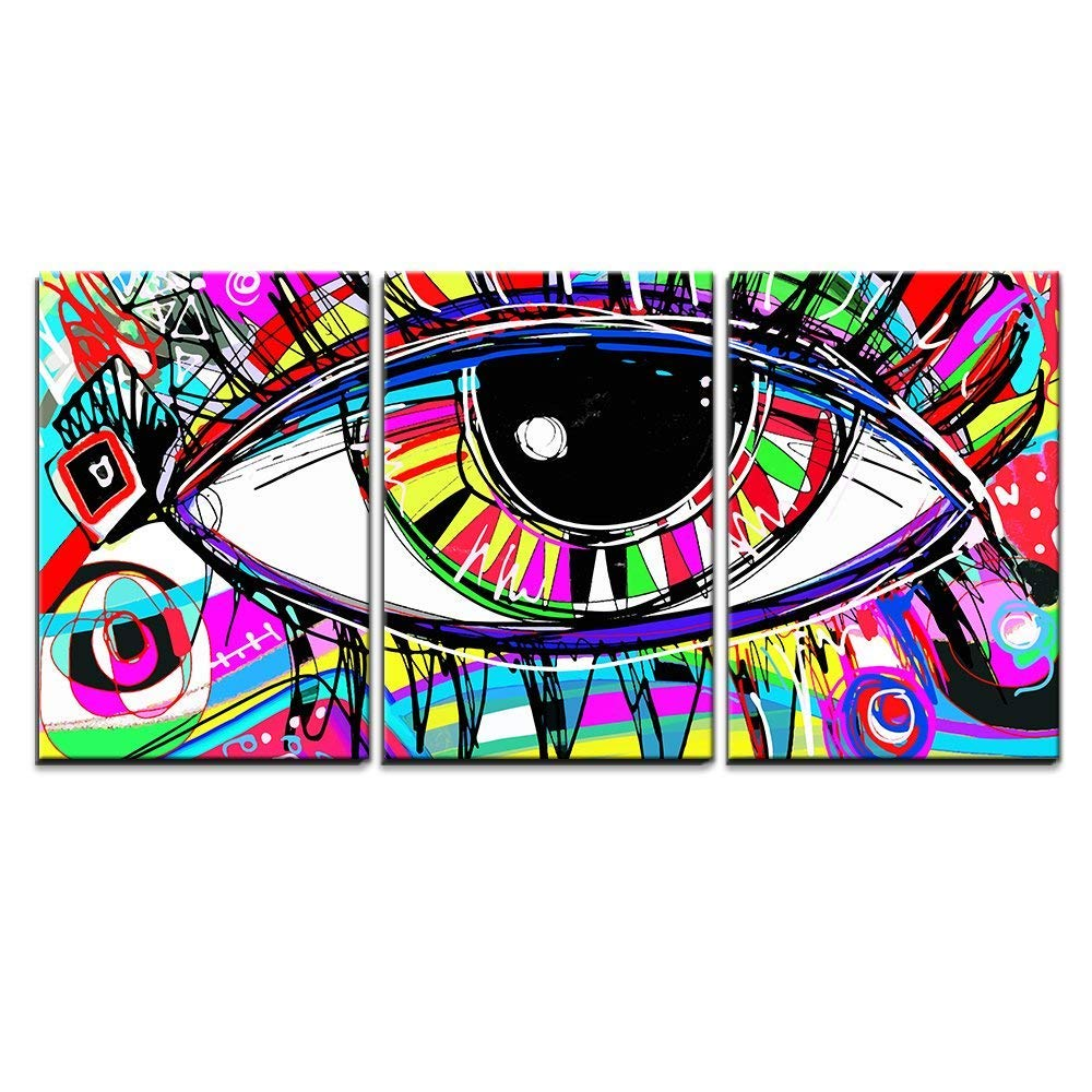 Amazon com wall26 abstract colorful eye canvas art wall decor 16x24x3 panels posters prints