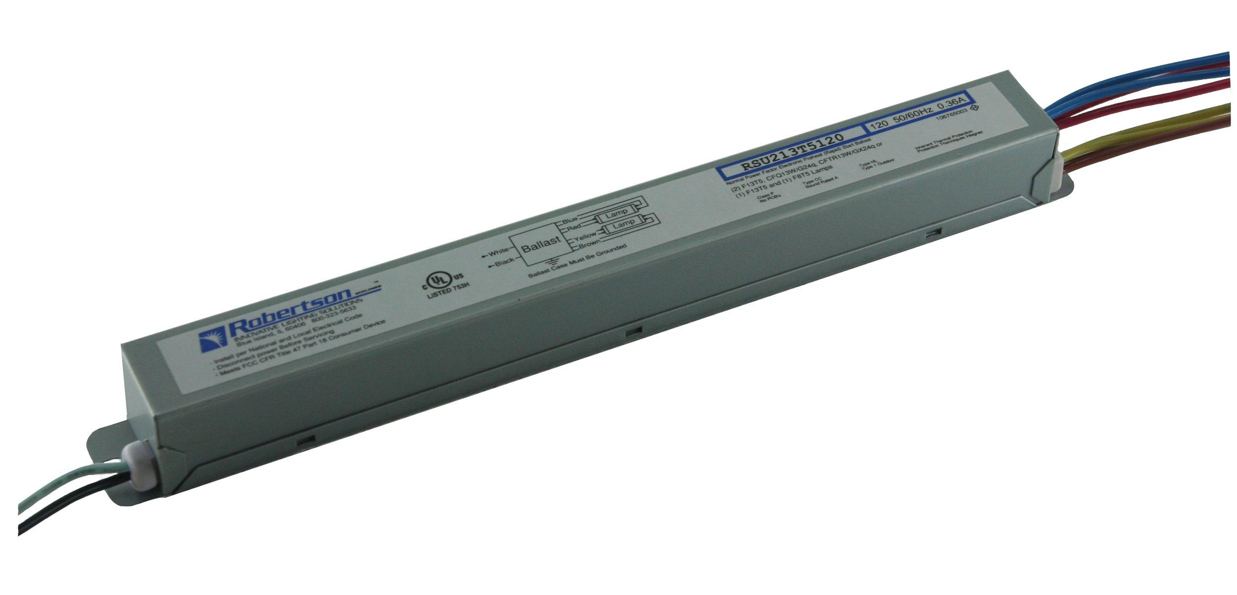 ROBERTSON 3P20070 RSU213T5120 /A Fluorescent eBallast for 2 F13T5 Linear Lamps, 120Vac, 50-60Hz, Normal Ballast Factor, NPF