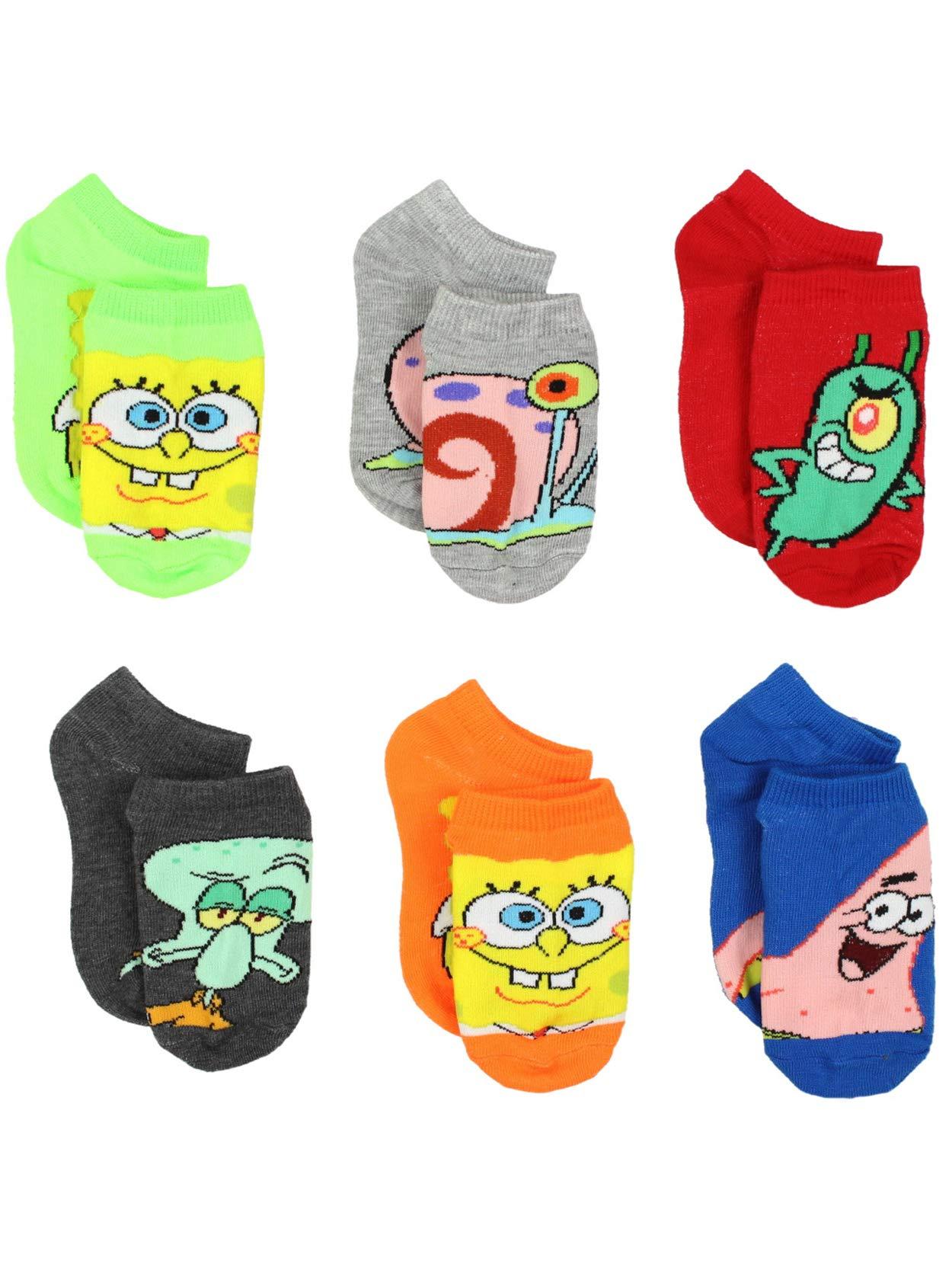 Spongebob Squarepants Boys Girls Toddler 6 pack Socks (6-8 Boys / Shoe: 10.5-4, Multi)