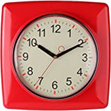 """Lily's Home Square Retro Kitchen Wall Clock, Large Dial Quartz Timepiece, Red, 11"""""""