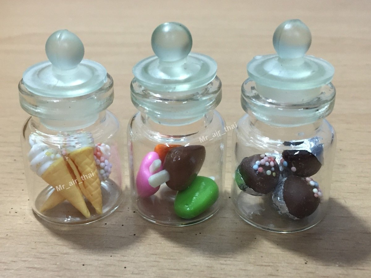 3pc Miniature Food Chocolate Cookie Cake Dollhouse Donut Candy in Clear Glass Mini Bottle fruit Food #MF055