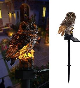 Owl Solar LED Light Garden Solar Light Outdoor Decoration Resin Pile Garden Lawn Path Yard Decoration (Brown)