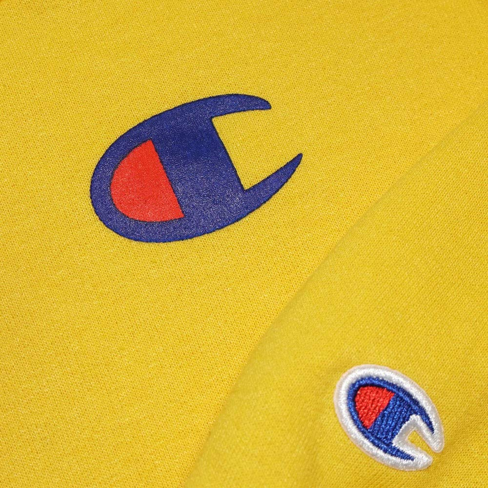 Champion Reverse Weave Logo Youth Powerblend Pullover Hoodie Champion Yellow