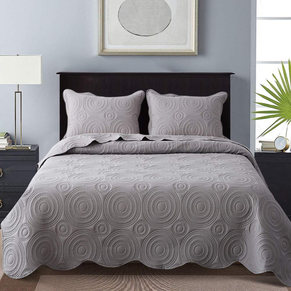 NEWLAKE Microfiber Lightweight 3 Piece Bedspread Coverlet Set,Embossed Wavelet Pattern, Queen Size by NEWLAKE (Image #1)