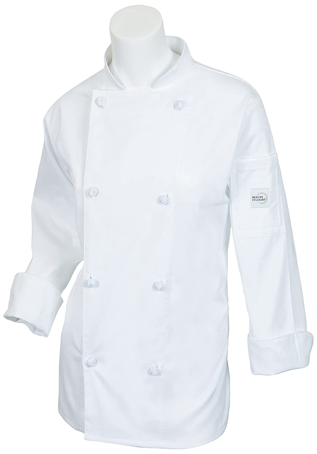 Mercer Culinary M61040BKL Genesis Women's Chef Jacket with Cloth Knot Buttons, Large, Black
