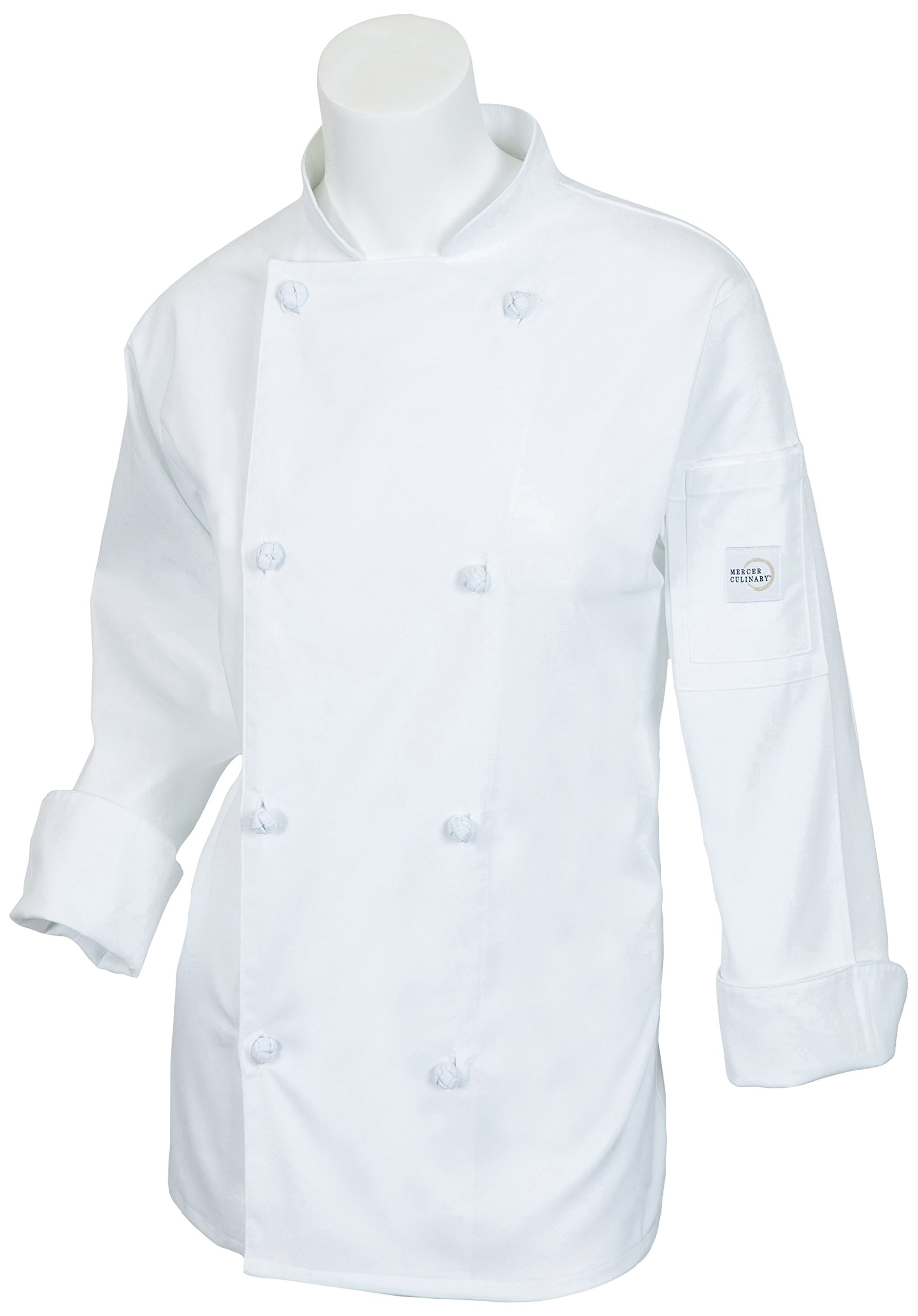 Mercer Culinary M61040WHXS Genesis Women's Jacket with Cloth Knot Buttons, X-Small, White by Mercer Culinary