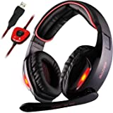 Sades SA902 7.1 Channel Virtual USB Surround Stereo Wired PC Gaming Headset Over Ear Headphones with Mic Revolution Volume Control Noise Canceling LED Light (Black/Red)