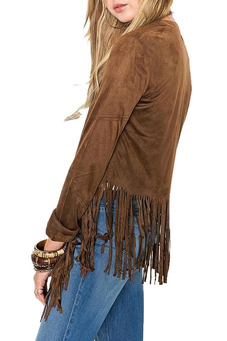 Las mujeres con flecos manga larga chaqueta de punto chaqueta: Amazon.es: Ropa y accesorios