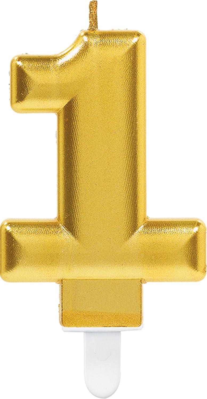 Carpeta Zahlenkerze * Zahl 1 * in Gold mit Steckfuß | ca. 10cm x 6cm groß | Deko Goldene Hochzeit Jubiläum Geburtstagskerze Kerze Geburtstag