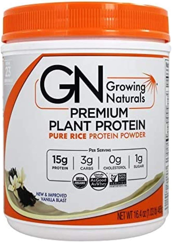 Growing Naturals Rice Protein Isolate Powder, Vanilla Blast, 465-Gram: Health & Personal Care