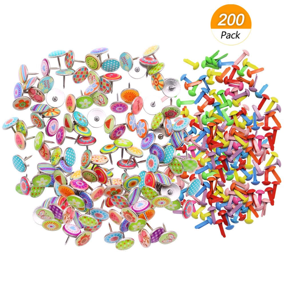 Meetory 100Pcs Colorful Decorative Steel Push Pins for Photos Wall, Corkboard, Maps and 100Pcs Mini Brads, Metal Brad Fastener for Paper Scrapbooking Crafts, Random Colors