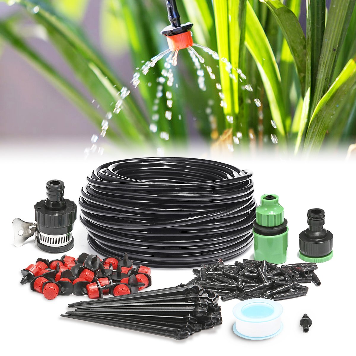 KINGSO 82ft Micro Drip Irrigation Kit System Blank Distribution Tubing Irrigation Sprinkler System Kit Self Plant Garden Hose Watering Kit (25M Dripper)