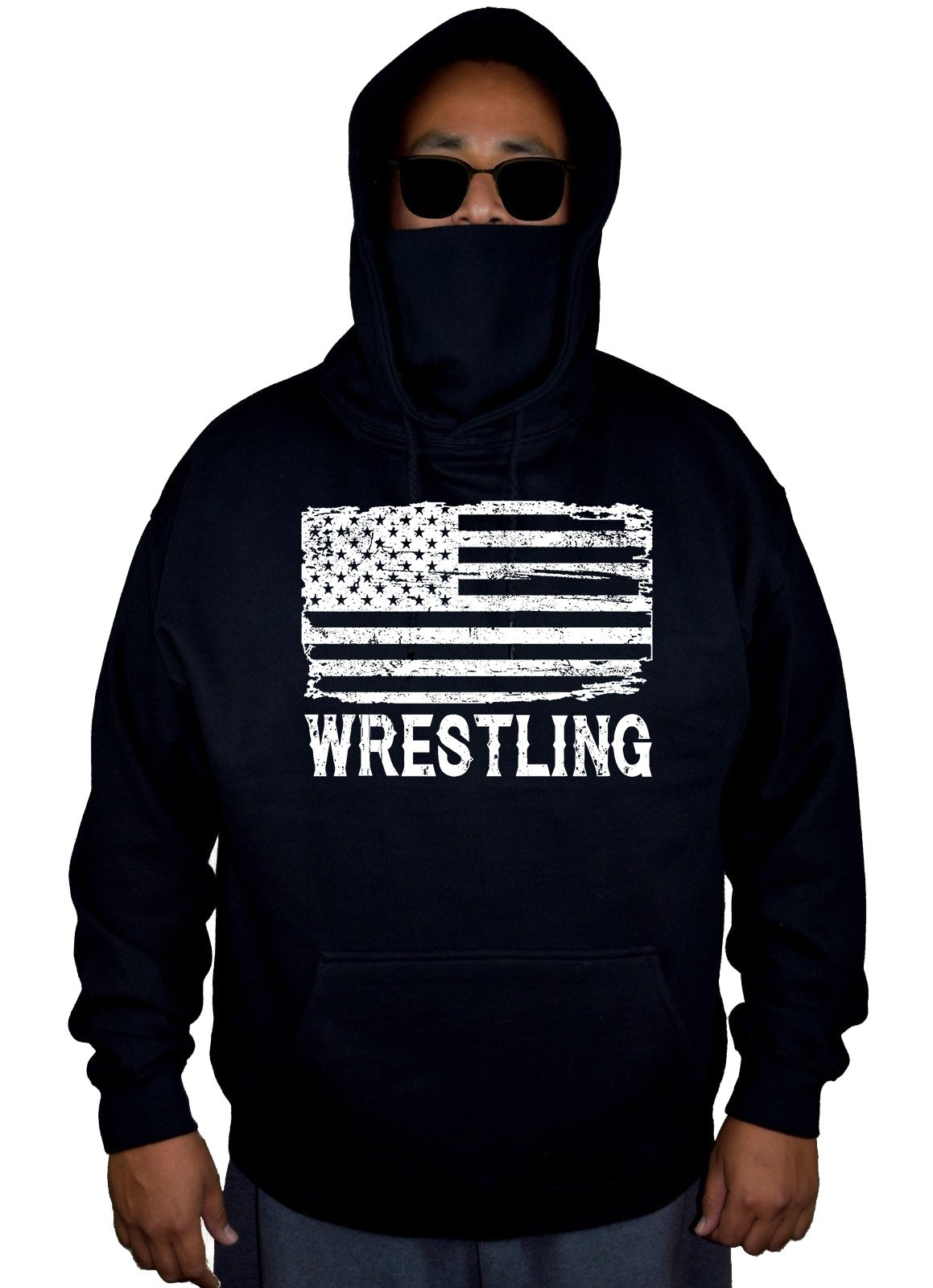 Men's Wrestling American Flag Black Mask Hoodie Sweater 5X-Large