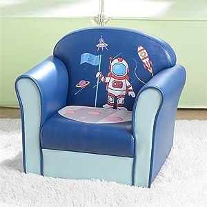 Kids Sofa, Environmental Friendly PVC Toddler Children's Armchair Sofa Living Room Bedroom Furniture Lightweight Padded Single Sofa Chair for Girls & Boys (Astronaut)