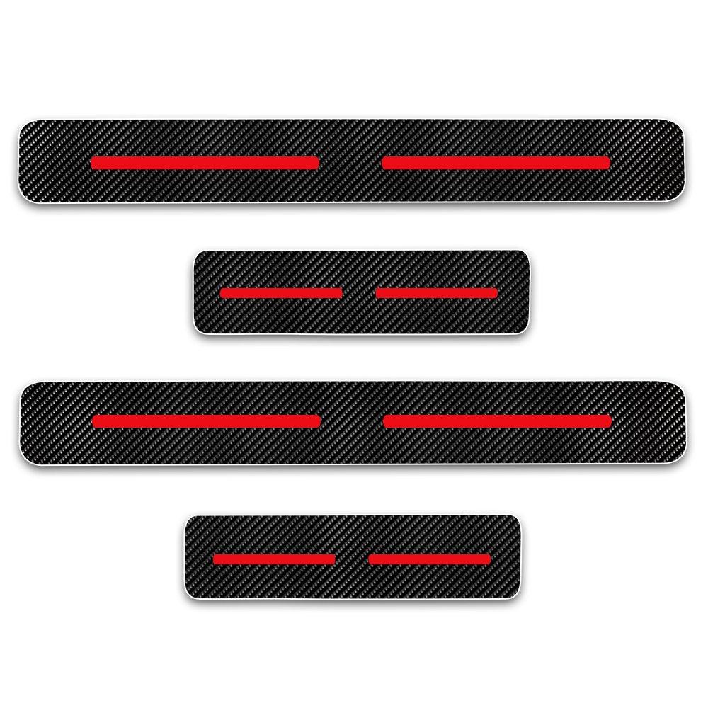 Protectores de Umbral de la Puerta del Coche para 2 3 Atenza 5 8 CX-5 CX-7 4D Vinilo Fibra de Carbono Adhesiva Pegatinas Rojo 4 Piezas Cobear