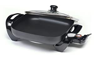 Elite Cuisine EG-1220G Maxi-Matic 12-Inch Non-Stick Electric Skillet with Glass Lid, Black