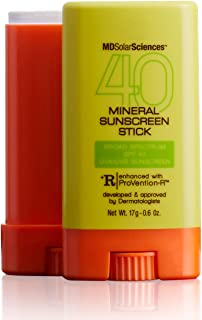 product image for MDSolarSciences Mineral SunScreen Stick SPF 40 | Lightweight, Oil-Free Formula, Broad UV Protection with Zinc Oxide, 80 Mins Water Resistance | 0.6 Oz