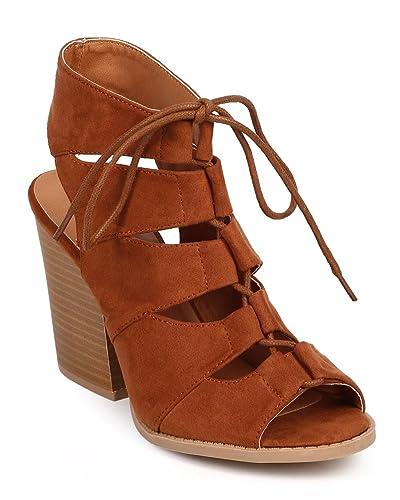 7e729714bb3 Qupid Women Suede Peep Toe Gilly Tie Block Heel Gladiator Bootie Sandal  DC92 - Dark Rust