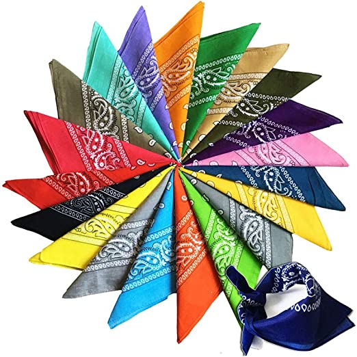 Collo Sciarpa Fazzoletti da Taschino Multifunzionale Bandana per Capelli 12 Pezzi Colore Casuale WingFly Bandane per Cappelli Testa Disegno Paisley