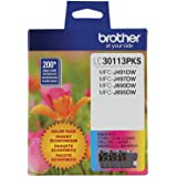 Brother Genuine LC30113PKS 3-Pack Standard Yield Color Ink Cartridges, Page Yield Up to 200 Pages/Cartridge Includes Cyan, Ma