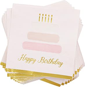 Pink Cake Paper Napkins with Gold Foil for Birthday Party (5 x 5 In, 50 Pack)