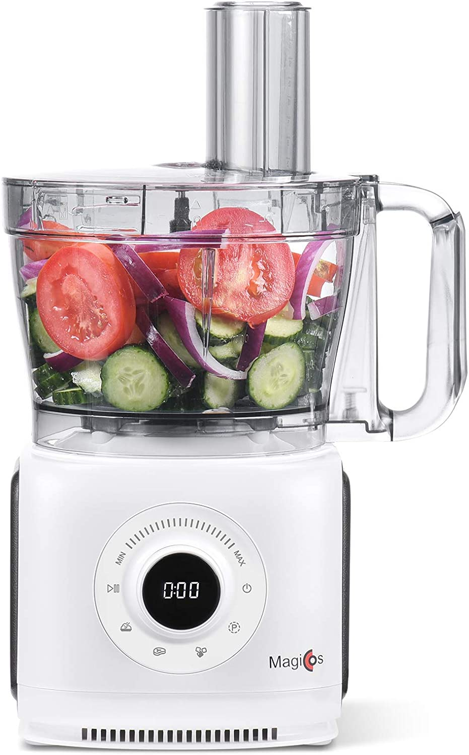 14 Cup Electric Food Processor, MAGICCOS 1000Watt Digital Food Chopper, With 7 Chopping Kneading Shredding Slicing and Mashing Blades,7 Variable Speeds Plus Pulse, Timer, Pear White Coating (Renewed)